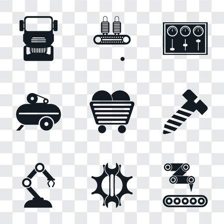 Illustration pour Set Of 9 simple transparency icons such as Conveyor, Settings, Robotic arm, Bolt, Coal, Compressor, Control panel, Truck, can be used for mobile, pixel perfect vector icon pack on - image libre de droit
