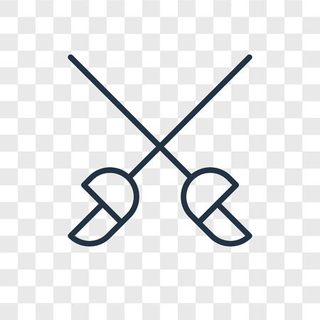 Ilustración de Fencing vector icon isolated on transparent background, Fencing logo concept - Imagen libre de derechos