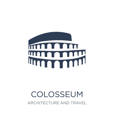 Ilustración de Colosseum icon. Trendy flat vector Colosseum icon on white background from Architecture and Travel collection, vector illustration can be use for web and mobile, eps10 - Imagen libre de derechos