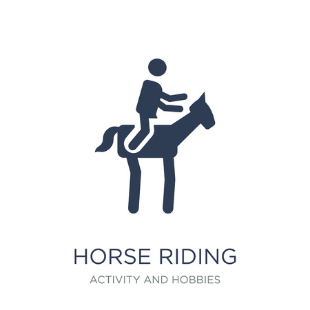 Ilustración de Horse riding icon. Trendy flat vector Horse riding icon on white background from Activity and Hobbies collection, vector illustration can be use for web and mobile, eps10 - Imagen libre de derechos