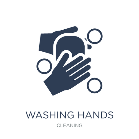 Ilustración de WASHING HANDS icon. Trendy flat vector WASHING HANDS icon on white background from Cleaning collection, vector illustration can be use for web and mobile, eps10 - Imagen libre de derechos