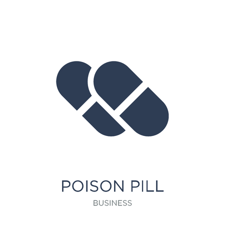 Ilustración de Poison pill icon. Trendy flat vector Poison pill icon on white background from business collection, vector illustration can be use for web and mobile, eps10 - Imagen libre de derechos