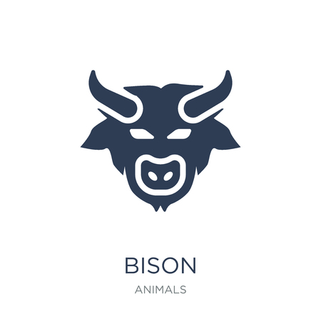 Illustration for Bison icon. Trendy flat vector Bison icon on white background from animals collection, vector illustration can be use for web and mobile, eps10 - Royalty Free Image