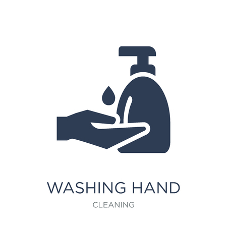 Ilustración de Washing hand icon. Trendy flat vector Washing hand icon on white background from Cleaning collection, vector illustration can be use for web and mobile, eps10 - Imagen libre de derechos