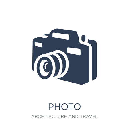 Ilustración de Photo icon. Trendy flat vector Photo icon on white background from Architecture and Travel collection, vector illustration can be use for web and mobile, eps10 - Imagen libre de derechos