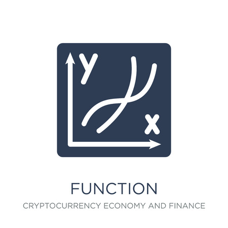 Ilustración de Function icon. Trendy flat vector Function icon on white background from Cryptocurrency economy and finance collection, vector illustration can be use for web and mobile, eps10 - Imagen libre de derechos