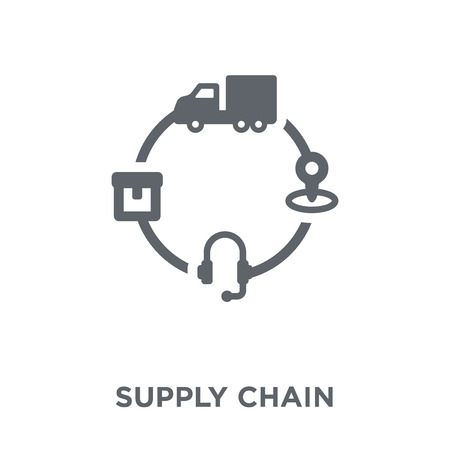 Ilustración de Supply chain icon. Supply chain design concept from Delivery and logistic collection. Simple element vector illustration on white background. - Imagen libre de derechos