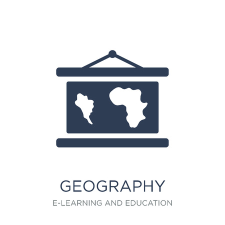 Illustration pour Geography icon. Trendy flat vector Geography icon on white background from E-learning and education collection, vector illustration can be use for web and mobile, eps10 - image libre de droit