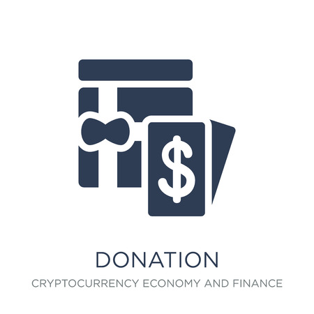 Illustration for Donation icon. Trendy flat vector Donation icon on white background from Cryptocurrency economy and finance collection, vector illustration can be use for web and mobile, eps10 - Royalty Free Image