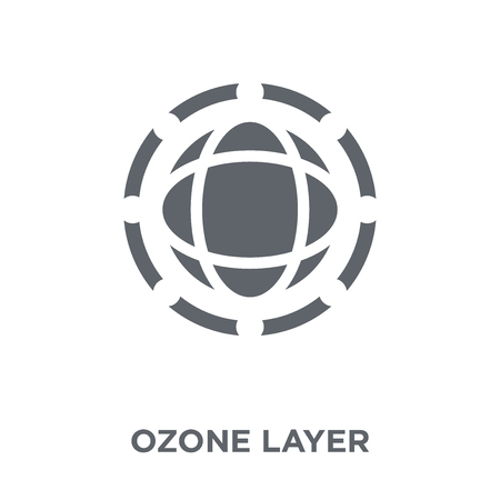 Ilustración de Ozone layer icon. Ozone layer design concept from Ecology collection. Simple element vector illustration on white background. - Imagen libre de derechos