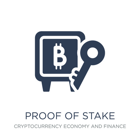 Ilustración de Proof of stake icon. Trendy flat vector Proof of stake icon on white background from Cryptocurrency economy and finance collection, vector illustration can be use for web and mobile, eps10 - Imagen libre de derechos