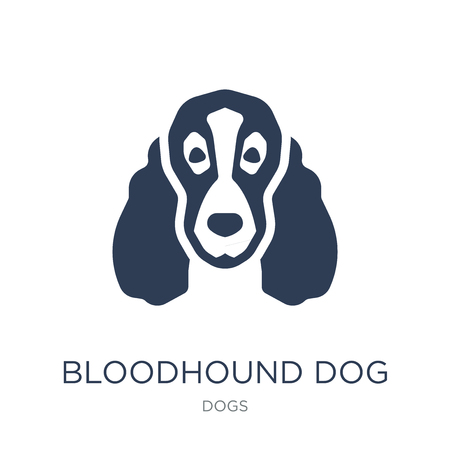 Ilustración de Bloodhound dog icon. Trendy flat vector Bloodhound dog icon on white background from dogs collection, vector illustration can be use for web and mobile, eps10 - Imagen libre de derechos