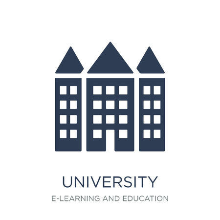 Illustration pour University icon. Trendy flat vector University icon on white background from E-learning and education collection, vector illustration can be use for web and mobile, eps10 - image libre de droit