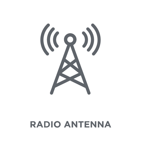 Ilustración de Radio antenna icon. Radio antenna design concept from Communication collection. Simple element vector illustration on white background. - Imagen libre de derechos