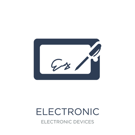 Illustration pour electronic signature icon. Trendy flat vector electronic signature icon on white background from Electronic devices collection, vector illustration can be use for web and mobile, eps10 - image libre de droit