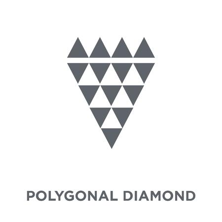 Ilustración de Polygonal diamond shape of small triangles icon. Polygonal diamond shape of small triangles design concept from Geometry collection. Simple element vector illustration on white background. - Imagen libre de derechos