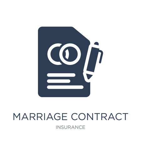 Illustration for marriage contract icon. Trendy flat vector marriage contract icon on white background from Insurance collection, vector illustration can be use for web and mobile, eps10 - Royalty Free Image