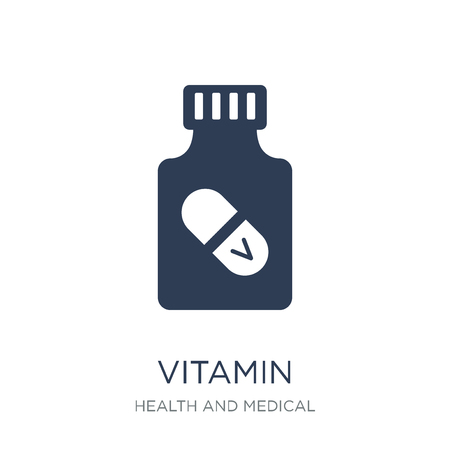 Ilustración de vitamin icon. Trendy flat vector vitamin icon on white background from Health and Medical collection, vector illustration can be use for web and mobile, eps10 - Imagen libre de derechos