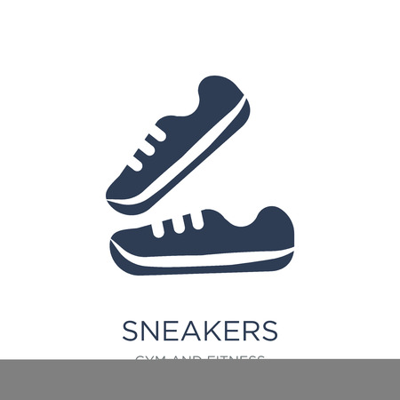 Ilustración de Sneakers icon. Trendy flat vector Sneakers icon on white background from Gym and fitness collection, vector illustration can be use for web and mobile, eps10 - Imagen libre de derechos