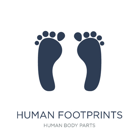 Ilustración de Human footprints icon. Trendy flat vector Human footprints icon on white background from Human Body Parts collection, vector illustration can be use for web and mobile, eps10 - Imagen libre de derechos