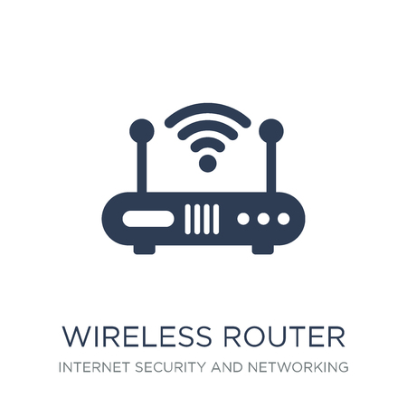Ilustración de Wireless router icon. Trendy flat vector Wireless router icon on white background from Internet Security and Networking collection, vector illustration can be use for web and mobile, eps10 - Imagen libre de derechos