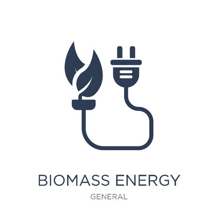 Ilustración de biomass energy icon. Trendy flat vector biomass energy icon on white background from general collection, vector illustration can be use for web and mobile, eps10 - Imagen libre de derechos