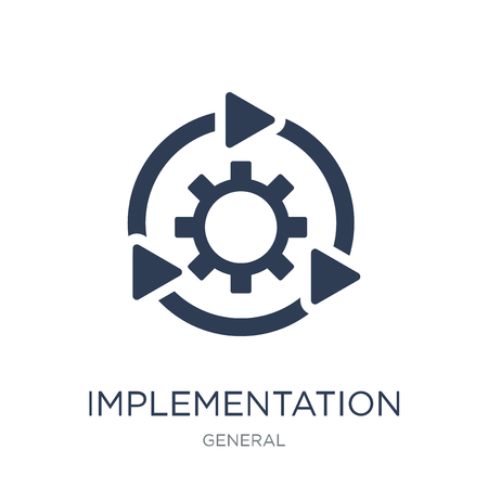 Ilustración de implementation icon. Trendy flat vector implementation icon on white background from general collection, vector illustration can be use for web and mobile, eps10 - Imagen libre de derechos
