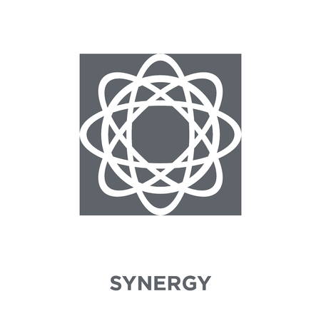 Ilustración de Synergy icon. Synergy design concept from Geometry collection. Simple element vector illustration on white background. - Imagen libre de derechos