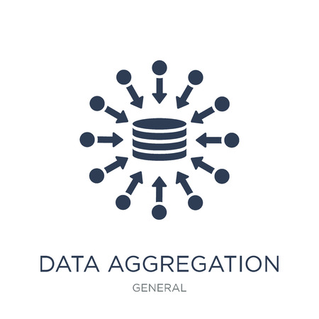 Ilustración de data aggregation icon. Trendy flat vector data aggregation icon on white background from general collection, vector illustration can be use for web and mobile, eps10 - Imagen libre de derechos