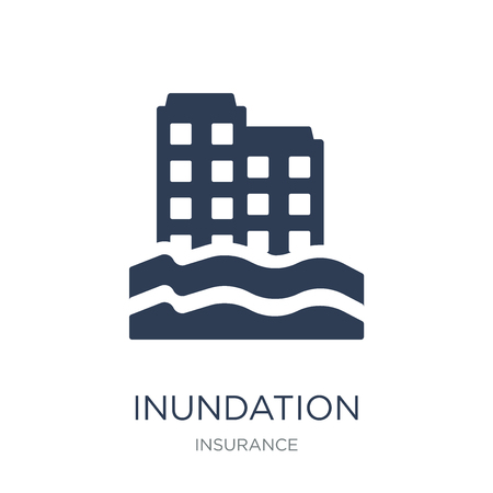 Ilustración de Inundation icon. Trendy flat vector Inundation icon on white background from Insurance collection, vector illustration can be use for web and mobile, eps10 - Imagen libre de derechos