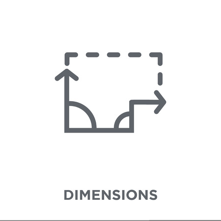 Illustration pour Dimensions icon. Dimensions design concept from Geometry collection. Simple element vector illustration on white background. - image libre de droit