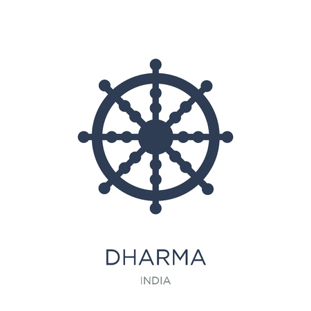 Ilustración de Dharma icon. Trendy flat vector Dharma icon on white background from india collection, vector illustration can be use for web and mobile, eps10 - Imagen libre de derechos