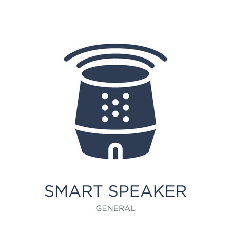 Illustrazione per smart speaker icon. Trendy flat vector smart speaker icon on white background from General collection, vector illustration can be use for web and mobile, eps10 - Immagini Royalty Free
