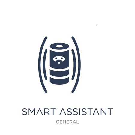 Ilustración de smart assistant icon. Trendy flat vector smart assistant icon on white background from General collection, vector illustration can be use for web and mobile, eps10 - Imagen libre de derechos