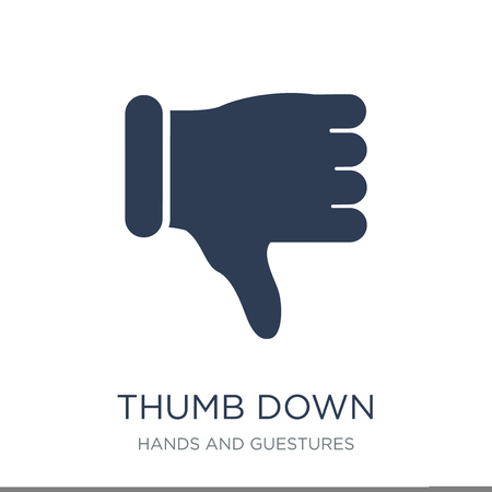 Illustrazione per Thumb down icon. Trendy flat vector Thumb down icon on white background from Hands and guestures collection, vector illustration can be use for web and mobile, eps10 - Immagini Royalty Free