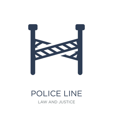 Ilustración de Police line icon. Trendy flat vector Police line icon on white background from law and justice collection, vector illustration can be use for web and mobile, eps10 - Imagen libre de derechos
