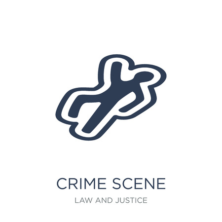 Ilustración de Crime scene icon. Trendy flat vector Crime scene icon on white background from law and justice collection, vector illustration can be use for web and mobile, eps10 - Imagen libre de derechos