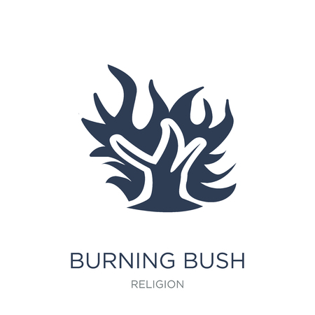 Ilustración de Burning Bush icon. Trendy flat vector Burning Bush icon on white background from Religion collection, vector illustration can be use for web and mobile, eps10 - Imagen libre de derechos