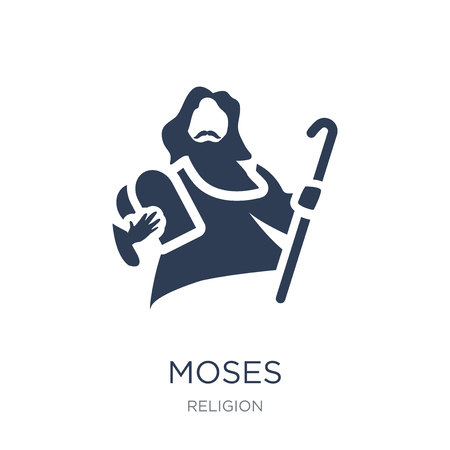 Ilustración de Moses icon. Trendy flat vector Moses icon on white background from Religion collection, vector illustration can be use for web and mobile, eps10 - Imagen libre de derechos