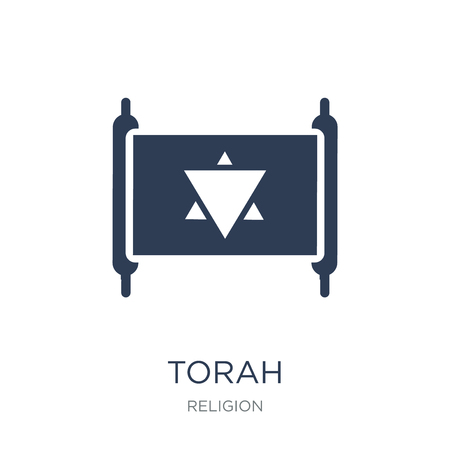 Ilustración de Torah icon. Trendy flat vector Torah icon on white background from Religion collection, vector illustration can be use for web and mobile, eps10 - Imagen libre de derechos
