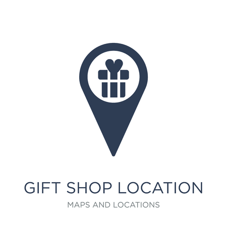 Illustration for Gift shop Location icon. Trendy flat vector Gift shop Location icon on white background from Maps and Locations collection, vector illustration can be use for web and mobile, eps10 - Royalty Free Image