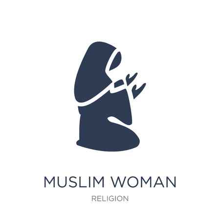 Illustration for Muslim Woman Praying icon. Trendy flat vector Muslim Woman Praying icon on white background from Religion collection, vector illustration can be use for web and mobile, eps10 - Royalty Free Image