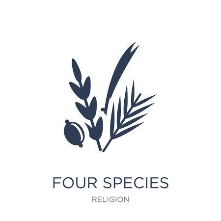 Ilustración de Four Species icon. Trendy flat vector Four Species icon on white background from Religion collection, vector illustration can be use for web and mobile, eps10 - Imagen libre de derechos