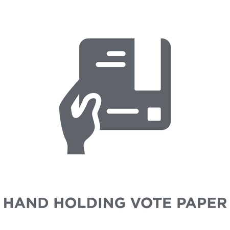 Illustration pour Hand holding vote paper icon. Hand holding vote paper design concept from Political collection. Simple element vector illustration on white background. - image libre de droit