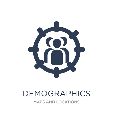 Ilustración de Demographics icon. Trendy flat vector Demographics icon on white background from Maps and Locations collection, vector illustration can be use for web and mobile, eps10 - Imagen libre de derechos