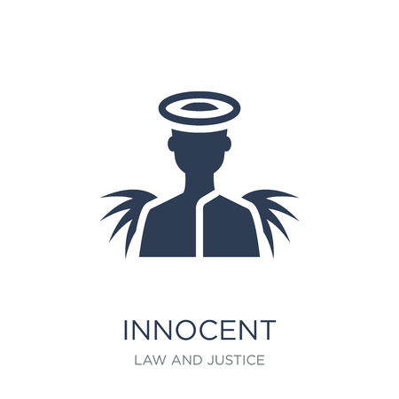 Ilustración de Innocent icon. Trendy flat vector Innocent icon on white background from law and justice collection, vector illustration can be use for web and mobile, eps10 - Imagen libre de derechos