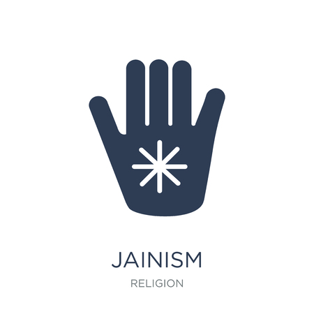 Ilustración de Jainism icon. Trendy flat vector Jainism icon on white background from Religion collection, vector illustration can be use for web and mobile, eps10 - Imagen libre de derechos