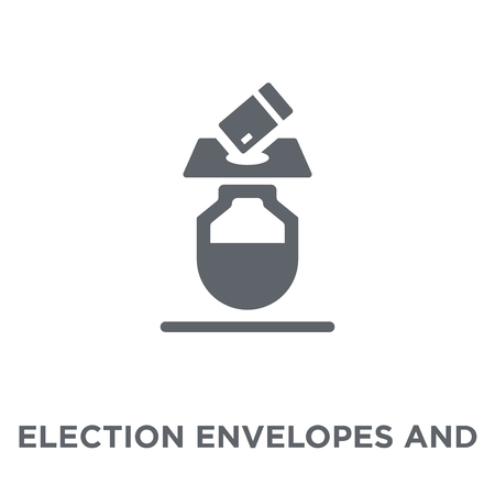Illustration pour Election envelopes and box icon. Election envelopes and box design concept from Political collection. Simple element vector illustration on white background. - image libre de droit