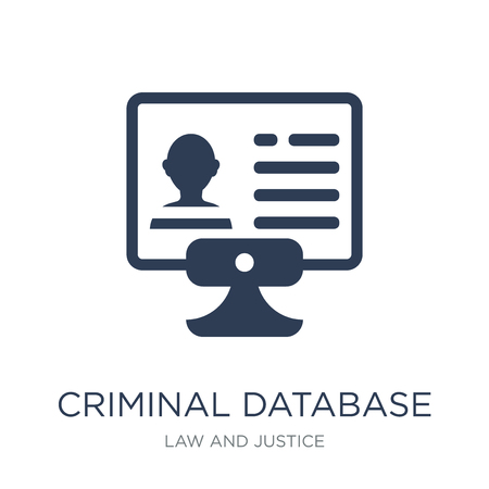 Ilustración de Criminal database icon. Trendy flat vector Criminal database icon on white background from law and justice collection, vector illustration can be use for web and mobile, eps10 - Imagen libre de derechos