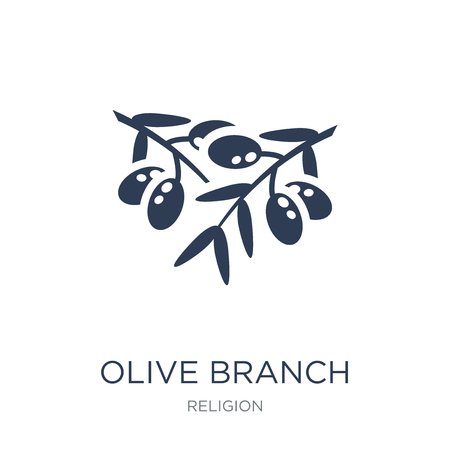 Illustration pour Olive Branch icon. Trendy flat vector Olive Branch icon on white background from Religion collection, vector illustration can be use for web and mobile, eps10 - image libre de droit
